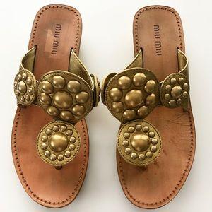 Miu Miu Leather Studded Thong Sandals Size 6 Gold